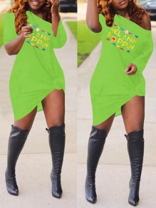 "Green Monogram ""MELANIN POPPIN"" Print Off One Shoulder Plus Size Long Sleeve Midi Dress"