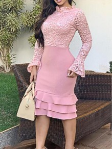 Pink Floral Lace Cascading Ruffle Bodycon Elegant Banquet Party Midi Dress