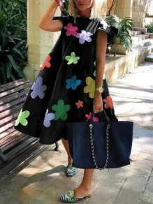 Black Colorful Flowers Pattern Draped Short Sleeve Holiday Midi Dress