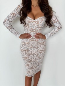 White Patchwork Lace Cut Out Bandeau V-neck Long Sleeve Bodycon Midi Dress