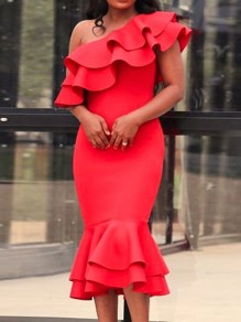 Red Layers Of Ruffle Asymmetric Shoulder Bodycon Ruffle Work Midi Dress