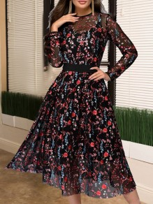 Black Patchwork Grenadine Floral Embroidery Print Round Neck Long Sleeve Work Midi Dress