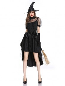 Black Patchwork Lace High-Low Short Sleeve Halloween Midi Dress
