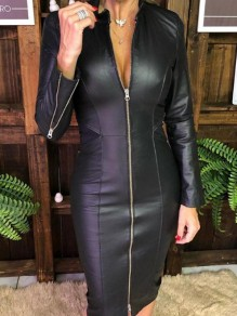 Black PU Leather Zipper Long Sleeve Fashion Midi Dress