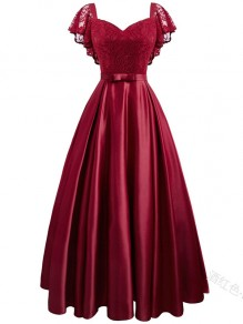 Wine Red Lace Ruffle Bow V-neck Elegant Banquet Midi Dress