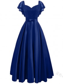 Blue Lace Ruffle Bow V-neck Elegant Banquet Midi Dress
