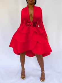 Red Cascading Ruffle Deep V-neck High-low NYE Banquet Party Midi Dress