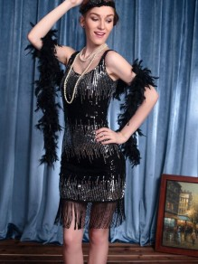 Black Patchwork Sequin Tassel Feather Three Piece Flapper Sparkly Banquet Party Midi Dress
