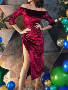 Burgundy Patchwork Velvet Off Shoulder Elbow Sleeve Slit Elegant NYE Party Prom Midi Dress