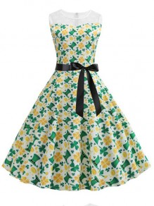 Green Patchwork Lace Clover Pattern St patrick's Day Sashes Sleeveless Party Midi Dress