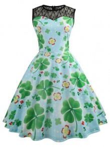 Blue-Green Patchwork Lace Clover Pattern St patrick's Day Sashes Sleeveless Party Midi Dress