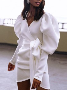 White Pleated Bow V-neck Puff Sleeve Bodycon Party Mini Dress