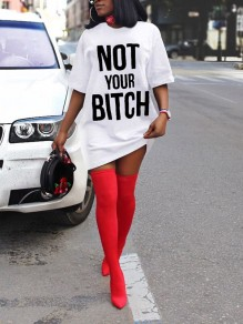 "White ""NOT YOUR BITCH"" Short Sleeve Round Neck Casual Mini Dress"