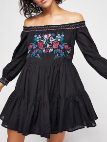 Black Floral Embroidery Off Shoulder Backless Pleated Vintage Mexican Flowy Bohemian Mini Dress