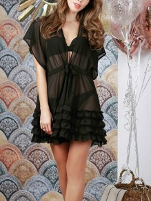 Black Sashes Drawstring Ruffle V-neck Chiffon Beach Cover Up Summer Mini Dress