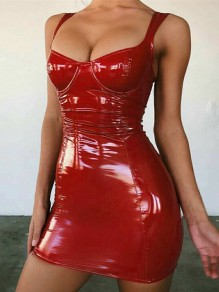 Red PU Leather Deep V-neck Backless Latex Bodycon Clubwear Party Mini Dress