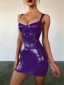 Purple PU Leather Deep V-neck Backless Latex Bodycon Clubwear Party Mini Dress