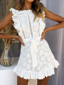 White Patchwork Lace Ruffle Sashes Fashion Mini Dress