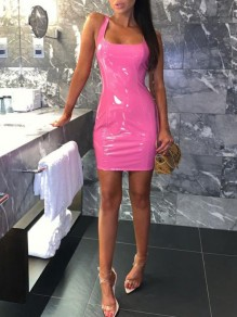 Pink Spaghetti Strap Bodycon U-neck PU Leather Latex Party Mini Dress