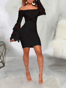 Black Patchwork Lace Off Shoulder Sheer Bell Sleeve Bodycon Party Mini Dress