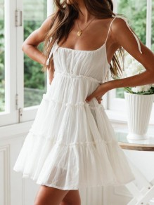 White Pleated Ruffle Backless Spaghetti Strap Square Neck Going out Mini Dress
