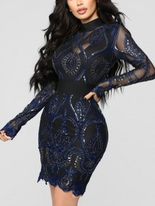 Navy Blue Patchwork Lace Sequin Bodycon Long Sleeve Sparkly Glitter Birthday Party NYE Mini Dress