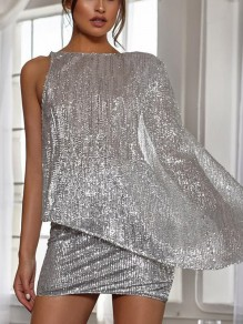 Silver Patchwork Sequin Asymmetric Shoulder Sparkly Glitter Birthday Party Mini Dress