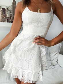 White Floral Ruffle High Waisted Bodycon Spaghetti Straps Going out Mini Dress