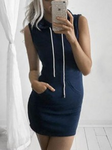 Blue Drawstring Pockets Bodycon Comfy Going out Mini Dress