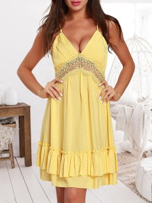 Yellow Patchwork Ruffle Lace Tie Back Backless V-neck Honey Girl Mini Dress