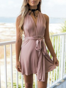 Pink Sashes Backless Flowy Bodycon Knot Going out Mini Dres
