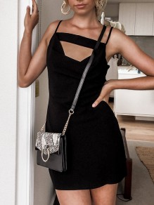 Black Cut Out Backless Bodycon Spaghetti Strap Clubwear Party Mini Dress