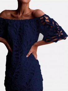 Navy Blue Cut Out Lace Off Shoulder Short Sleeve Cocktail Party Mini Dress