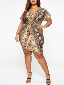 Brown Snake Skin Print V-neck Short Sleeve Plus Size Fashion Mini Dress