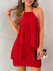 Red Irregular Cut Out Backless Halter Neck Party Mini Dress