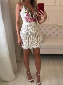 White Patchwork Lace Floral Embroidery Spaghetti Strap V-neck Bodycon Party Mini Dress