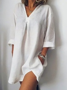 White Pockets Slit Bodycon Comfy V-neck 3/4 Sleeve Going out Mini Dress