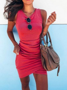 Rose Carmine Slit Ruffle Bodycon Round Neck Fashion Mini Dress