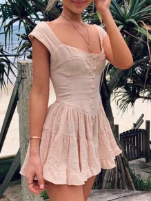 Beige Single Breasted Pleated Ruffle Square Neck Cute Ladies Mini Dress