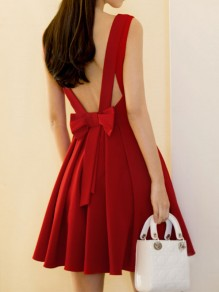 Red Bow Draped Backless V-neck Sleeveless Elegant Skater Mini Dress