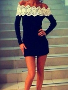 Black-White Patchwork Lace Going out Comfy Fashion One Piece mini dress
