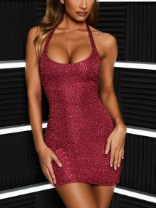 Red Patchwork Rhinestone Halter Neck Bodycon Sparkly Glitter Birthday Party Mini Dress