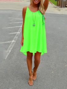 Green Patchwork Cut Out Condole Belt Sleeveless Going out Mini Dress