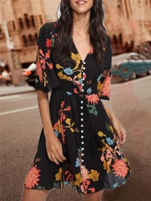 Black Floral Print Single Breasted Bohemian V-neck Going out Big Swing Mini Dress