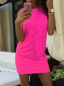 Pink Patchwork Tassel Sleeveless Fashion Mini Dress