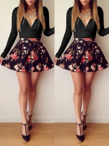 Black Floral Bodycon Big Swing V-neck Long Sleeve Going out Mini Dress