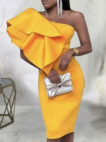 Yellow Asymmetric Shoulder Cascading Ruffle Backless Bodycon Prom Evening Party Maxi Dress