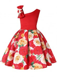 Kid's Red Flower Formal Sashes Dresses Wedding Party Mini Dress