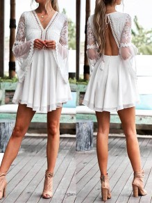 White Patchwork Lace Tie Back Backless Chiffon V-neck Elegant Mini Dress