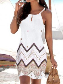 White Print Going out Comfy Fashion One Piece mini dress